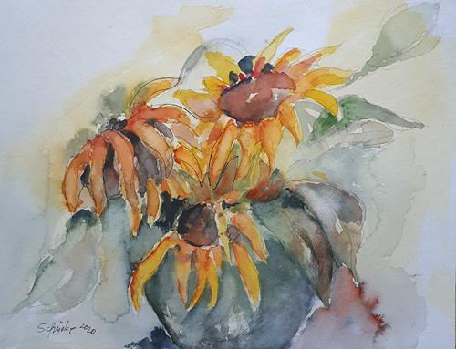 Ingeborg Schnöke, Sonnenblumen, Pflanzen, Abstrakte Kunst