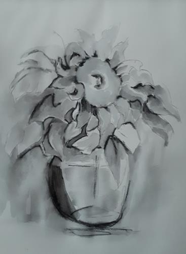Ingeborg Schnöke, Sonnenblume, Pflanzen, Abstrakte Kunst
