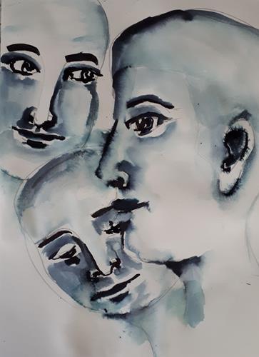 Ingeborg Schnöke, O.T., Menschen, Menschen: Gesichter, Abstrakte Kunst