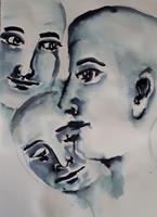 Ingeborg-Schnoeke-Menschen-Menschen-Gesichter-Moderne-Abstrakte-Kunst