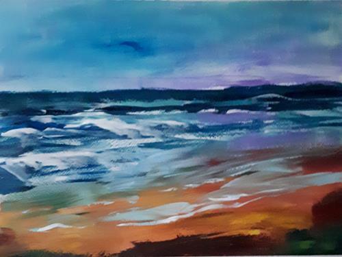 Ingeborg Schnöke, Abends am Meer, Poesie, Landschaft, Abstrakte Kunst