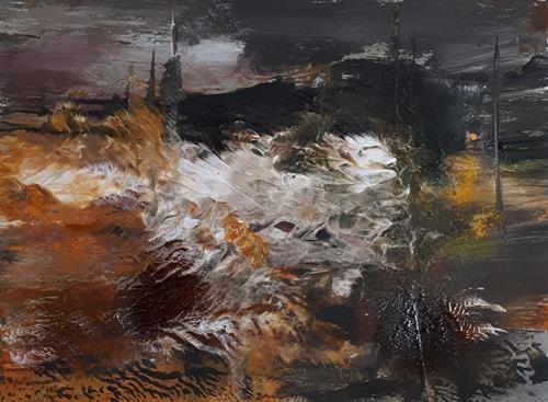 Ingeborg Schnöke, Abendstimmung, Landschaft, Abstraktes, Abstrakte Kunst, Abstrakter Expressionismus