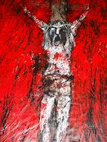 D. Papadopoulou, -Akt Kreuzigung-Acryl auf Tuch,210 x 145 cm