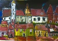 Despina-Papadopoulou-Landschaft-Herbst-Bauten-Moderne-Expressionismus-Neo-Expressionismus