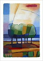 Lutz-Baar-Landschaft-See-Meer-Pflanzen-Baeume-Moderne-Abstrakte-Kunst-Bauhaus