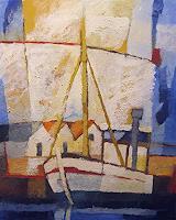 Lutz-Baar-Landschaft-See-Meer-Verkehr-Schiff-Moderne-Impressionismus-Neo-Impressionismus