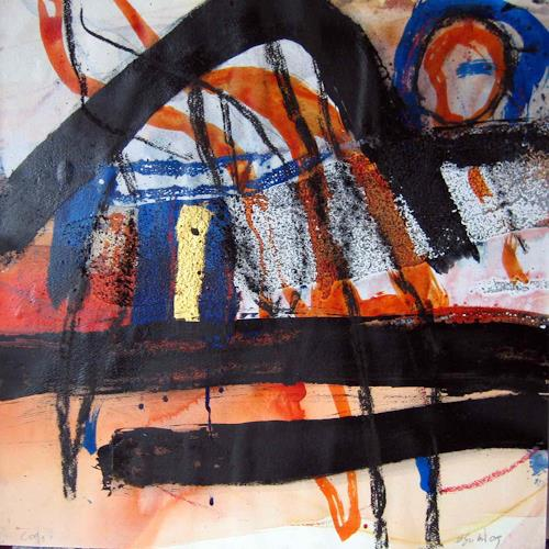 michael oberlik, C-09, #1, mm with goldleaf on paper on wood, 50x50 cm, Abstraktes, Informel