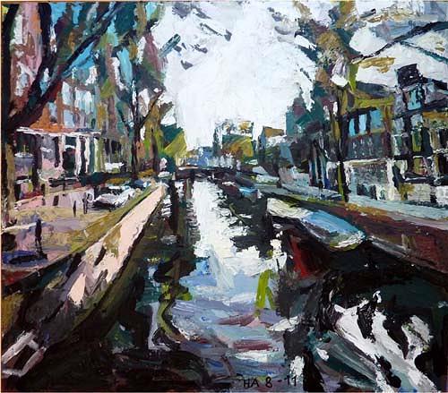 Heini Andermatt, Amsterdam, Gracht, Architektur, Diverse Landschaften, Postmoderne, Abstrakter Expressionismus