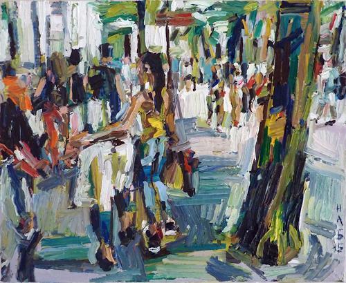 Heini Andermatt, Girls in der Bahnhofstrasse Zürich, Menschen: Frau, Architektur, Neue Figurative Malerei, Abstrakter Expressionismus