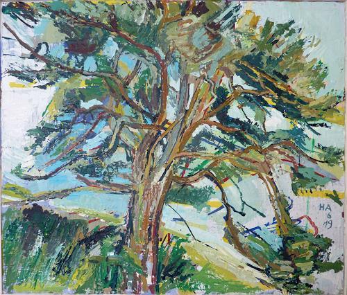 Heini Andermatt, Föhre im Unterengadin, Pflanzen: Bäume, Natur: Wald, expressiver Realismus, Expressionismus