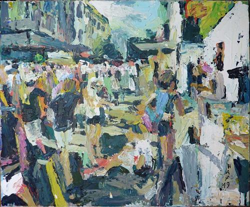 Heini Andermatt, Streetparade am Bürkliplatz, Menschen: Gruppe, Party/Feier, expressiver Realismus, Expressionismus