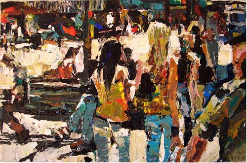 Heini Andermatt, Zwei Frauen, Bahnhofstrasse, Fashion, Neue Figurative Malerei, Expressionismus