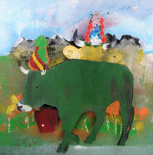 Walter Lehmann, Alpabzug mit grüner Kuh, Tiere: Land, Natur, Abstrakte Kunst, Abstrakter Expressionismus