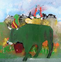 Walter Lehmann, Alpabzug mit grüner Kuh