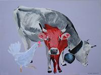 Walter Lehmann, Kühe mit Huhn