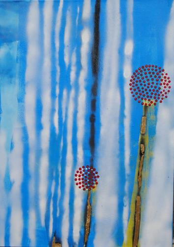 Walter Lehmann, Kirche mit 2 Blumen, Landschaft: Sommer, Gegenwartskunst