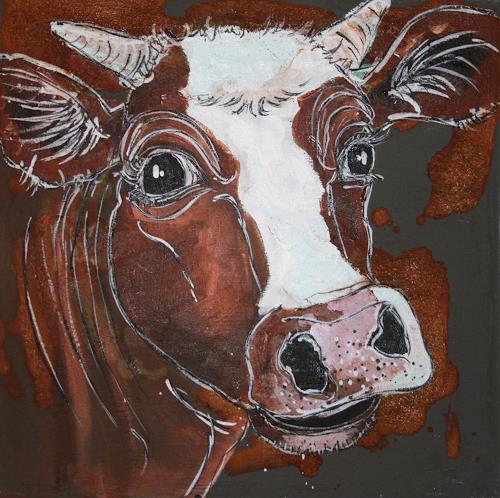 Regula Kummer, Kuh, Adelchen, Tiere: Land, Gegenwartskunst, Abstrakter Expressionismus