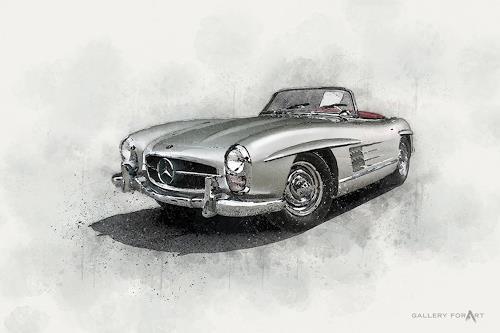 Artur Wasielewski, CAR MERCEDES 300SL, Verkehr: Auto, Bewegung, Moderne, Expressionismus