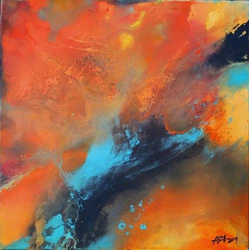 Agnes Lang, 'Farbmelange Orange l, Abstraktes, Bewegung, Gegenwartskunst