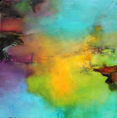 Agnes Lang, Sonnenland, Abstraktes, Landschaft: Sommer, Gegenwartskunst, Expressionismus