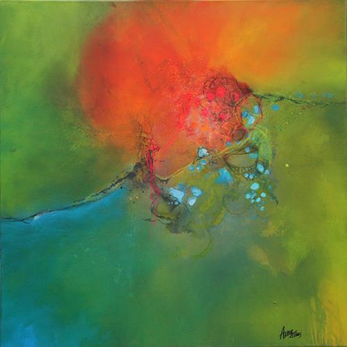 Agnes Lang, nonchalance, Fantasie, Landschaft: Frühling, Abstrakte Kunst, Expressionismus