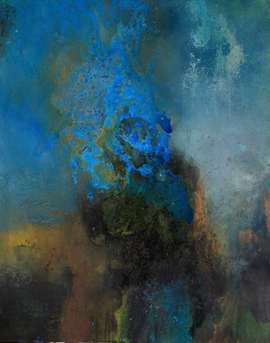 Agnes Lang, Azurit I, Fantasie, Abstraktes, Gegenwartskunst, Expressionismus