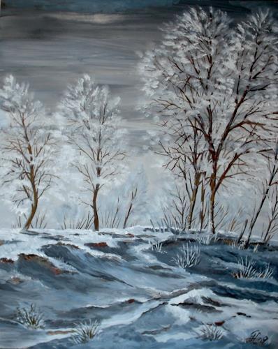 Günther Hofmann, Hochgestade im Winter, Landschaft: Winter, Pflanzen: Bäume, Realismus