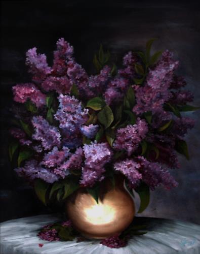 hofmannsART, Fliederstrauß, Stilleben, Pflanzen: Blumen, Naturalismus, Expressionismus