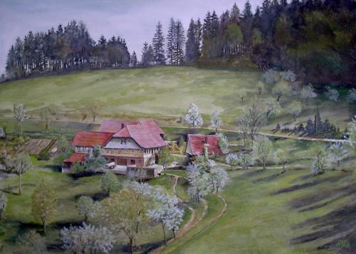 Günther Hofmann, Frühling am Langenberg, Bauten: Haus, Landschaft: Frühling, Realismus