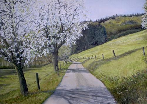 Günther Hofmann, Apfelblüte am Sandhofweg, Landschaft: Frühling, Landschaft: Berge, Realismus