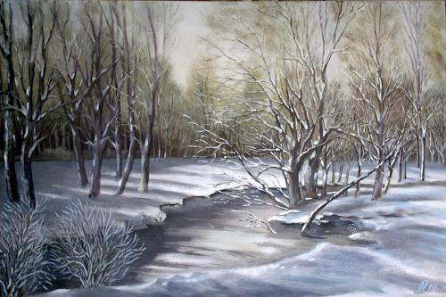 Günther Hofmann, Bachufer im Schnee, Landschaft: Winter, Natur: Wasser, Realismus, Expressionismus