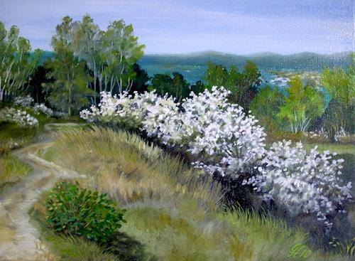 Günther Hofmann, Schlehenblüte, Landschaft: Frühling, Diverse Pflanzen, Realismus