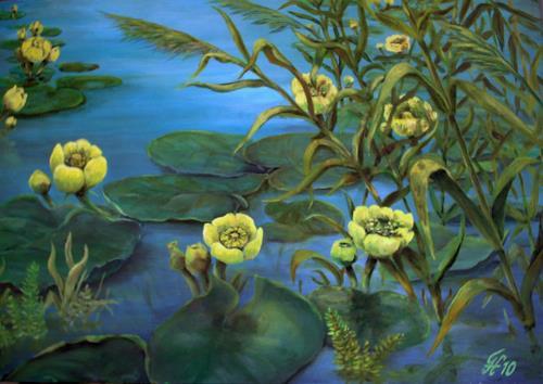hofmannsART, Teichrosen am Saalbachkanal, Pflanzen: Blumen, Diverse Pflanzen, Realismus, Expressionismus