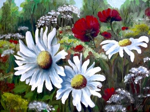 hofmannsART, Sommerwiese, Pflanzen: Blumen, Natur: Diverse, Impressionismus, Expressionismus