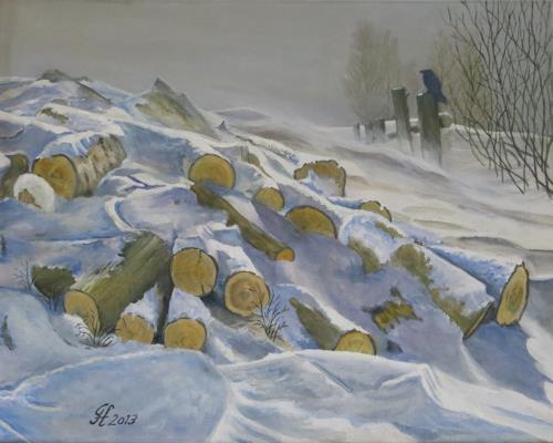 Günther Hofmann, Wintereinbruch, Landschaft: Winter, Natur: Diverse, Impressionismus, Expressionismus