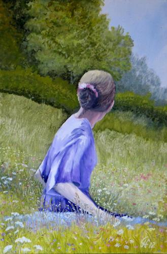Günther Hofmann, Frühlingszeit, Landschaft: Frühling, Menschen: Frau, Impressionismus, Expressionismus