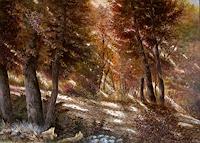 G. Hofmann, Sonnenstrahlen im Herbstwald