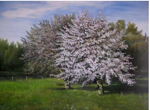 Günther Hofmann, Blühende Apfelbäume, Pflanzen: Bäume, Landschaft: Frühling, Abstrakte Kunst