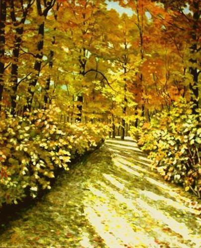 hofmannsART, Herbstsonne im Wald, Natur: Wald, Landschaft: Herbst, Abstrakte Kunst, Expressionismus