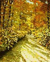 G. Hofmann, Herbstsonne im Wald