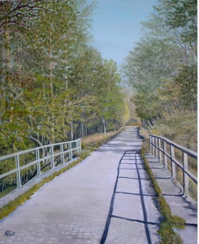 Günther Hofmann, Altrheinbrücke (Rußheim), Diverse Landschaften, Natur: Wald, Naturalismus, Expressionismus