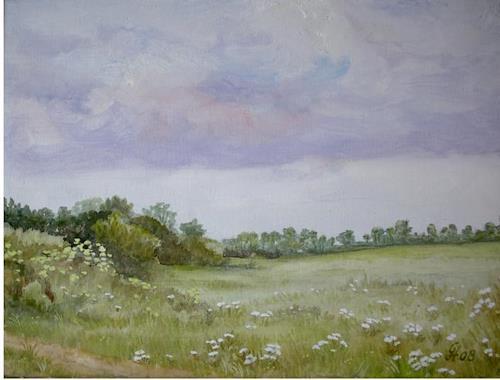 Günther Hofmann, Am Wegrand, Landschaft: Ebene, Landschaft: Frühling, Naturalismus, Expressionismus
