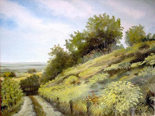 Günther Hofmann, Ginsterblüte, Landschaft: Frühling, Diverse Pflanzen, Naturalismus