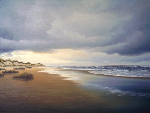 Lothar Strübbe, Auf der Insel Langeoog, Landschaft: See/Meer, Landschaft: Strand, Naturalismus