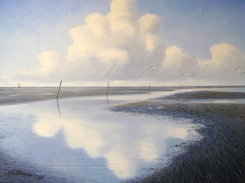 Lothar Strübbe, Priel in Watt in Ostfriesland, Landschaft: See/Meer, Landschaft: Strand, Naturalismus, Expressionismus