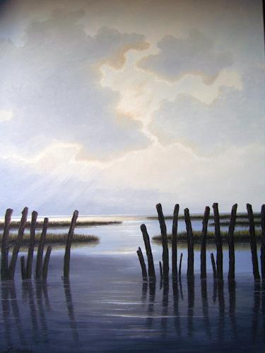 Lothar Strübbe, Wattenmeer in Ostfriesland, Landschaft: See/Meer, Natur: Wasser, Naturalismus
