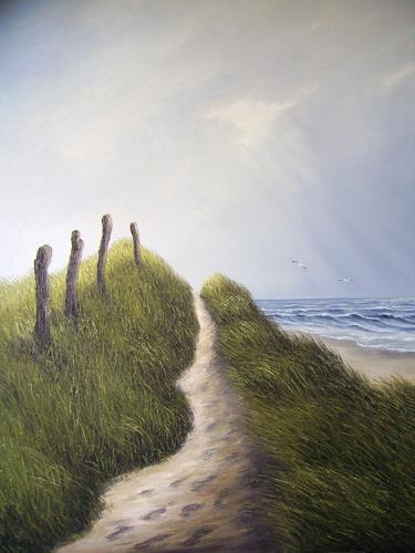 Lothar Strübbe, Dünen Weg auf der Insel, Landschaft: See/Meer, Natur: Wasser, Naturalismus