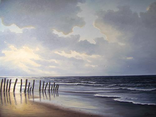 Lothar Strübbe, Abendstimmung an der Nordsee in Ostfriesland, Landschaft: See/Meer, Natur: Wasser, Naturalismus