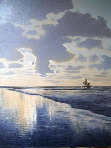 Lothar Strübbe, Abendstimmung in Watt, Landschaft: See/Meer, Natur: Wasser, Naturalismus