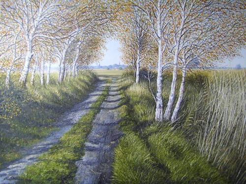 Lothar Strübbe, Moorlandsweg bei Jever in Friesland, Landschaft: Herbst, Landschaft: Ebene, Naturalismus, Expressionismus